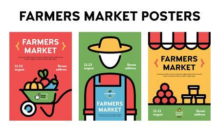 Vektor-Bauernmarkt-Plakat-Illustrationssatz. Farm-Event-Flyer-Hintergründe mit Platz für Text. Linien-Bannervorlagen für Obst- und Gemüsegeschäfte. Food-Festival-Flyer mit Bauern, Bio-Produkten