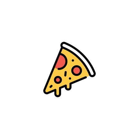 Vector pizza slice icon template. Line street food symbol illustration. Flat pizzeria logo background. Modern concept for italian restaurant, cafe, delivery