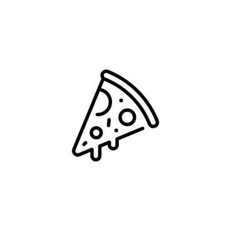 Pizza slice icon template. Vector street food symbol illustration. Line pizzeria logo background. Modern concept for italian restaurant, cafe, delivery