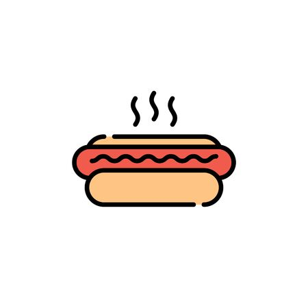 Vector hot dog icon template. Line street fast food symbol illustration. Flat american hotdog logo background. Simple concept for cafe, stall, delivery 向量圖像