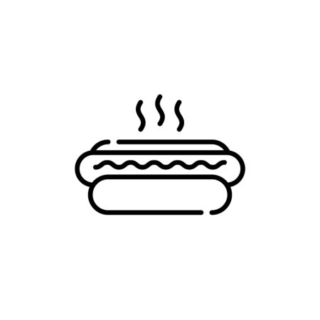 Hot dog icon template. Vector street fast food symbol illustration. Linear american hotdog logo background. Simple concept for cafe, stall, delivery