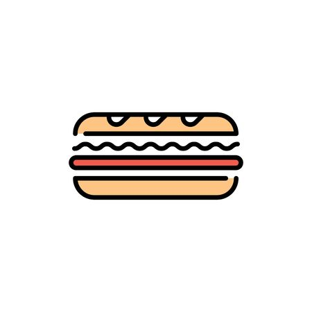 Vector sandwich icon template. Line street fast food symbol illustration. Traditional sub logo background. Simple concept for bar, cafe, stall, delivery