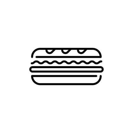 Linear sandwich icon template. Traditional sub logo background. Vector street fast food symbol illustration. Modern concept for bar, cafe, stall, delivery