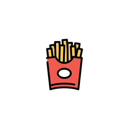 Vector french fries icon template. Potatoes in red package box logo background. Line street food symbol illustration. Modern concept for cafe, stall, restaurant, delivery 向量圖像