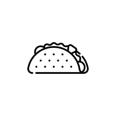 Taco icon design template. Mexican traditional food logo with tortilla, salad, tomato, beef. Modern concept for bar, cafe, stall, delivery. Vector street fast food symbol illustration 向量圖像