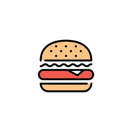 Vector burger icon design template. Line street fast food symbol illustration. Flat hamburger logo background. Simple sandwich concept for bar, cafe, stall, delivery 向量圖像