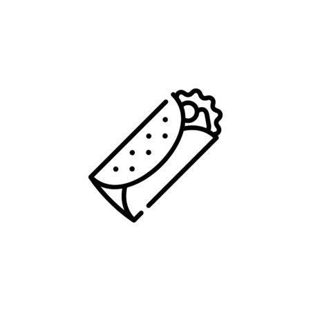 Vector burrito icon template. Street fast food symbol illustration. Traditional food logo concept: kebab, sandwich, shawarma, fajita, durum. Creative design for bar, cafe, stall, delivery Stock Illustratie