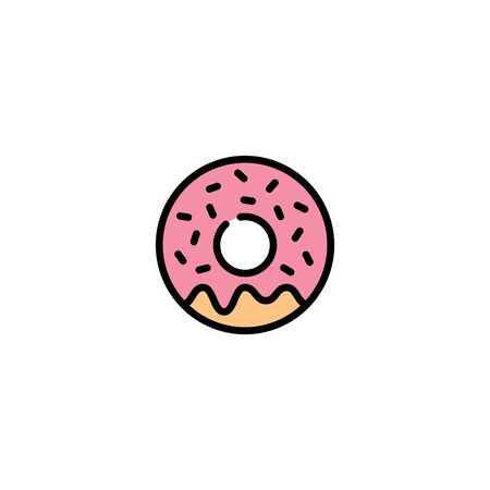 Vector donut icon template. Sweet tasty doughnut logo background.  Line street food symbol illustration. Candy glaze dessert concept for cafe, restaurant, stall