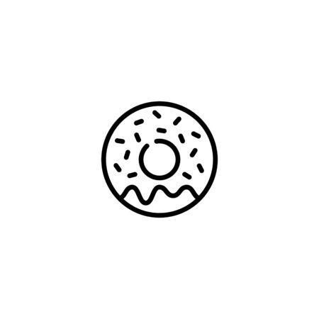Donut icon design template. Vector sweet tasty doughnut logo background.  Candy glazed dessert concept for cafe, cafeteria, restaurant, stall. Line street food symbol illustration