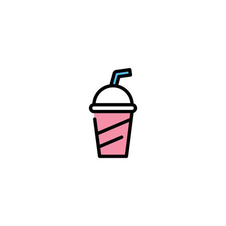 Vector soda cup icon template. Sweet drink logo background. Juice or cold drink concept for take away, cafe, cafeteria, restaurant, stall. Line street food symbol illustration 스톡 콘텐츠 - 146883084