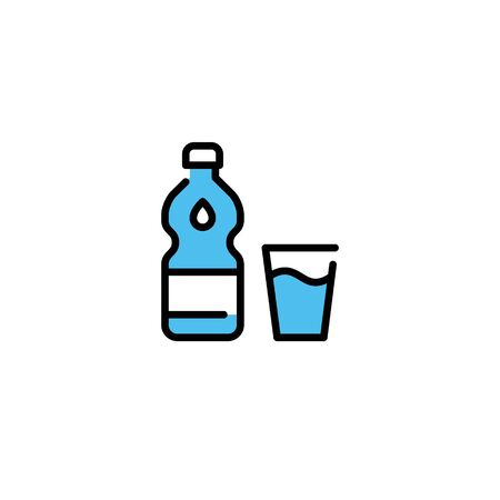 Vector water bottle icon template with drop. Line glass logo background. Simple drink concept for take away, cafe, restaurant, stall, shop. Clean aqua symbol illustration
