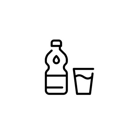 Water bottle icon template with drop. Vector line glass logo background. Clean aqua symbol illustration Simple drink concept for take away, cafe, restaurant, stall, shop 스톡 콘텐츠 - 146883087