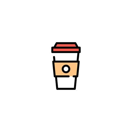 Vector coffee to go icon template. Line paper cup logo background. Simple drink concept for take away, cafe, bar, restaurant, stall. Street fast food symbol illustration