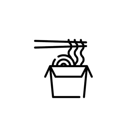 Vector noodle in box with chopsticks icon template. Flat ramen logo background. Modern wok concept for delivery, cafe, stall. Line street food symbol illustration