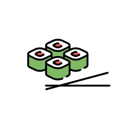 Vector asian roll icon template. Line sushi with chopsticks symbol illustration. Flat japanese food logo background. Modern concept for bar, delivery, cafe