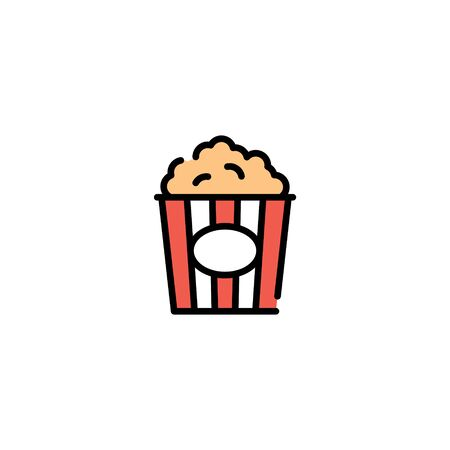 Vector popcorn icon template. Modern concept for cinema, cafe, stall. Pop corn in red package box logo background. Line street food symbol illustration 스톡 콘텐츠 - 146883105
