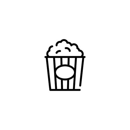 Popcorn icon template. Simple concept for cinema, cafe, stall. Vector pop corn in red package box logo background. Line street food symbol illustration 스톡 콘텐츠 - 146883106