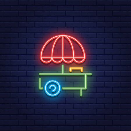 Vector neon street food cart icon. Line trade stall sign illustration. Glowing retail wheel market, booth, kiosk, trolley. Mobile stand logo background with umbrella 스톡 콘텐츠 - 146983523