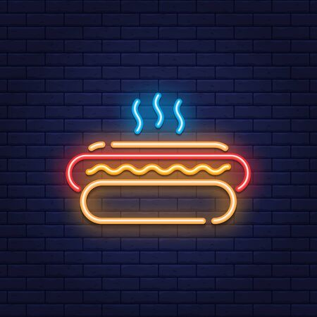 Vector neon hot dog icon. Line street fast food sign illustration. Glowing hotdog logo background. Simple concept for cafe, stall, delivery Vettoriali