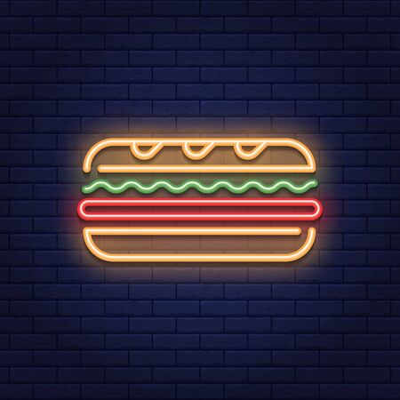 Vector neon sandwich icon template. Line street fast food sign illustration. Glowing traditional sub logo background. Simple concept for bar, cafe, stall, delivery