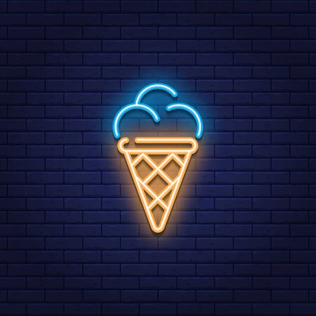 Vector neon ice cream icon. Glowing sweet dessert in waffle cone logo background.  Candy concept for cafe, cafeteria, restaurant, stall. Line street food sign illustration 向量圖像