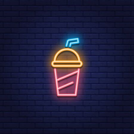 Vector neon soda cup icon. Glowing sweet drink logo background. Juice or cold drink sign for take away, cafe, cafeteria, restaurant, stall. Line street food symbol illustration 向量圖像
