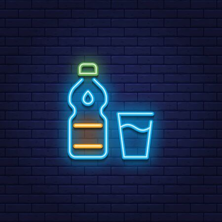 Vector neon water bottle icon with drop. Line glass logo background. Glowing drink sign for take away, cafe, restaurant, stall, shop. Clean aqua symbol illustration