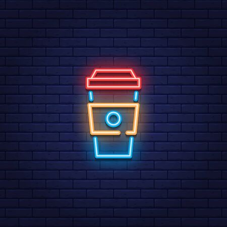 Vector neon coffee to go icon. Glowing drink sign for take away, cafe, bar, restaurant, stall.  Line paper cup logo background. Street fast food symbol illustration