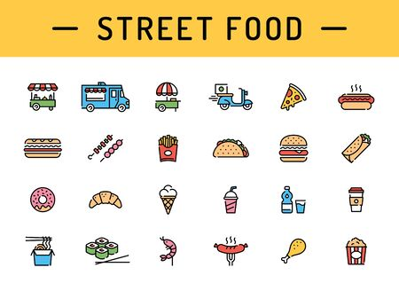 Vector street food icon set. Modern fastfood logo symbol collection. Flat take away pictogram illustration in line style. Simple signs for cafe, delivery, restaurant, stall, bar 向量圖像