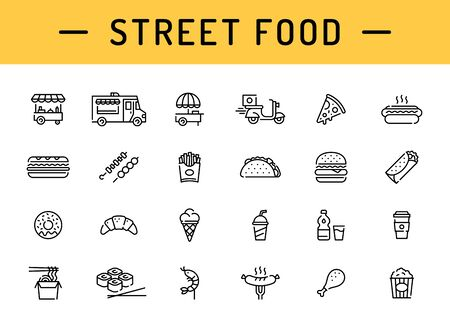 Street food icon template set. Vector fastfood logo symbol collection. Simple signs for cafe, delivery, stall, stand, vendor.  Flat take away pictogram illustration in line style