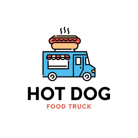 Vector street food truck logo template. Line hot dog car logotype illustration. Mobile snack bar background. Festival shop transport to cook and sell meals 向量圖像