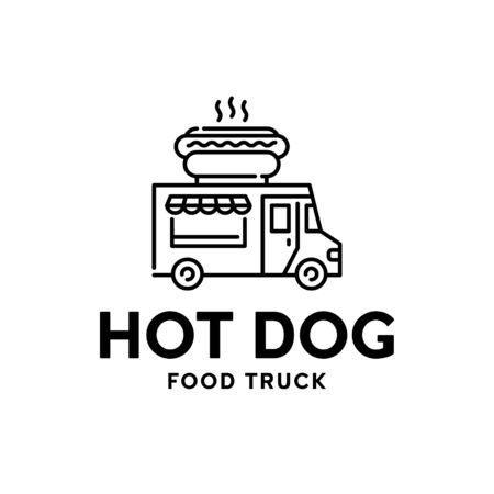 Street fast food truck logo. Vector hot dog car delivery logotype. Mobile snack bar background. Festival shop transport to cook and sell meals