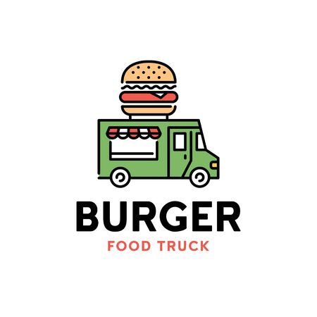 Vector street food truck logo template. Line burger van logotype illustration. Mobile hamburger delivery car background. Festival shop transport to cook and sell snacks 向量圖像
