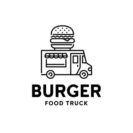 Street fast food truck logo. Vector burger van logotype illustration. Mobile hamburger delivery car background. Festival shop transport to cook and sell snacks 向量圖像