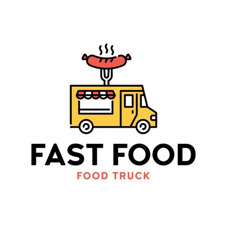 Vector street food truck logo template. Line BBQ van logotype illustration. Grilled sausage bar background. Festival barbecue shop to cook and sell meals