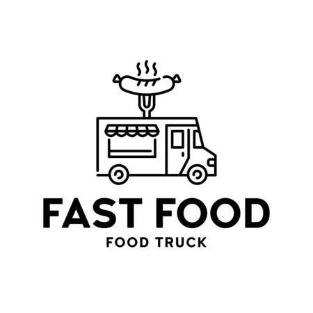 Street fast food truck logo. Vector BBQ van logotype illustration. Grilled sausage bar background. Festival barbecue shop to cook and sell meals 스톡 콘텐츠 - 146983567