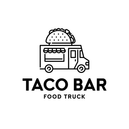 Street fast food truck logo. Line taco van logotype illustration. Vector mexican meals delivery car. Festival shop transport to cook and sell snacks