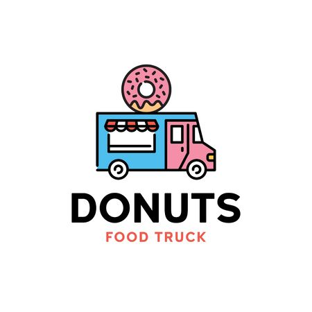 Vector street food truck logo template. Line donut van logotype illustration. Candy bakery car background. Festival shop car to cook and sell snacks
