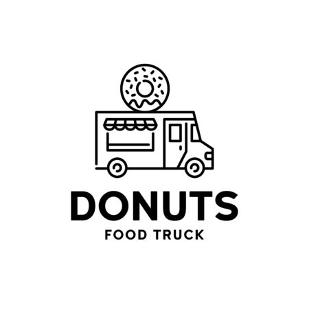 Street bakery food truck logo. Vector donut van logotype illustration. Line candy delivery car background. Festival shop car to cook and sell snacks