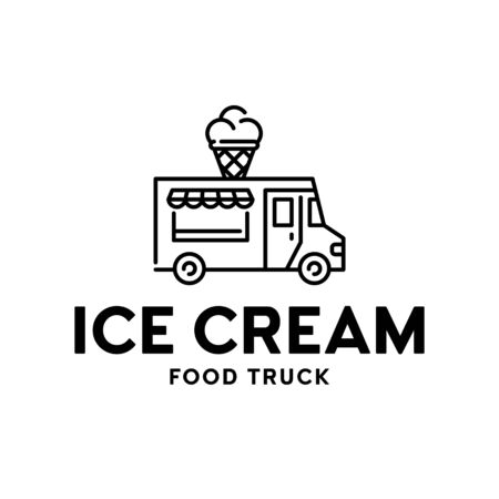 Street food truck logo template. Vector ice cream van logotype illustration. Delivery car icon with sweet cone dessert. Festival shop transport to cook and sell snacks