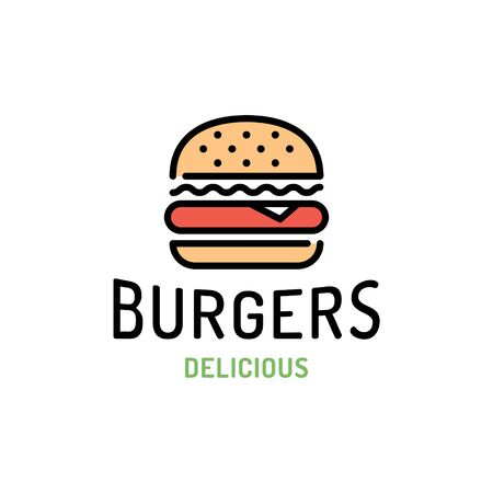 Vector burger logo design template. Line fast food label illustration. Flat hamburger restaurant logotype. Modern sandwich concept for bar, cafe, stall, delivery