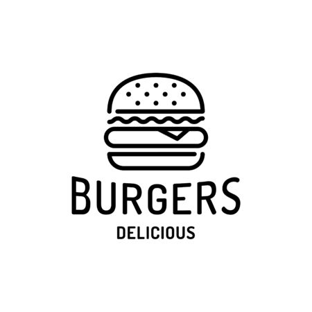 Burger logo design template. Vector hamburger restaurant logotype. Line fast food label illustration. Modern sandwich concept for bar, cafe, stall, delivery