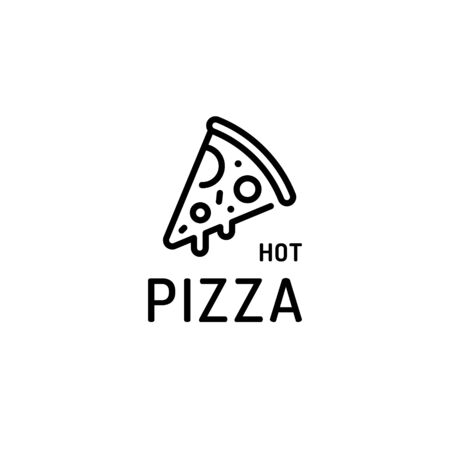 Hot pizza slice logo template. Vector pizzeria logotype background. Line fast food label illustration. Modern concept for italian restaurant, cafe, delivery 向量圖像