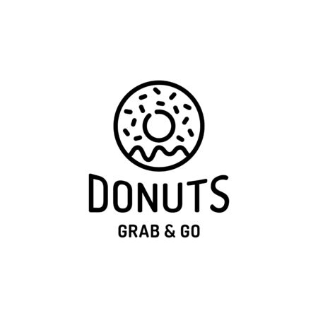 Donut logo design template. Vector sweet doughnut logotype background.  Glaze dessert sign for cafe, restaurant, stall. Grab and go concept. Line candy food label illustration 向量圖像