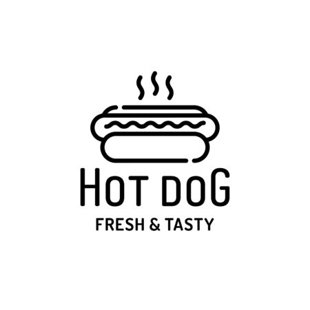 Hot dog logo design template. Vector fresh and tasty concept for cafe, stall, bar, restaurant. Line street fast food label illustration. Flat american hotdog logotype background