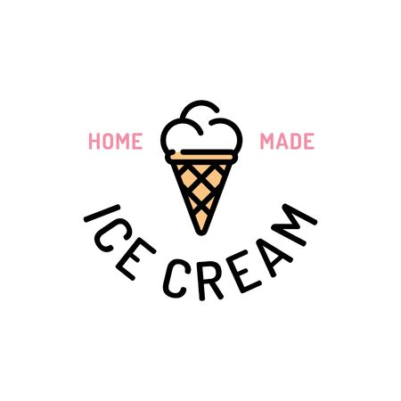 Vector ice cream logo template. Sweet dessert in waffle cone logotype background.  Candy concept for cafe, cafeteria, restaurant, stall. Line street food symbol illustration 스톡 콘텐츠 - 146983586