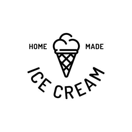 Ice cream logo design template. Vector sweet dessert in waffle cone logotype background.  Line street food symbol illustration. Candy concept for cafe, cafeteria, restaurant, stall 向量圖像