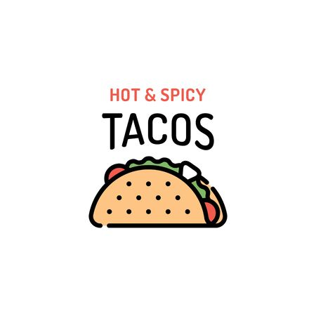 Vector taco logo design template. Mexican traditional food logotype with tortilla, salad, tomato, beef. Line street fast food label illustration. Hot and spicy concept for bar, cafe, stall, delivery