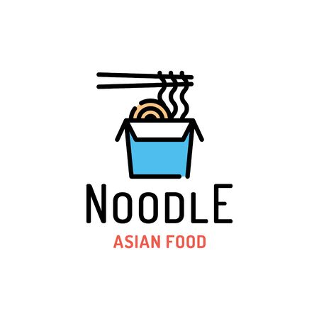 Vector noodle in box with chopsticks logo template. Line street food label illustration. Flat ramen logotype background. Modern asian wok concept for delivery, cafe, stall