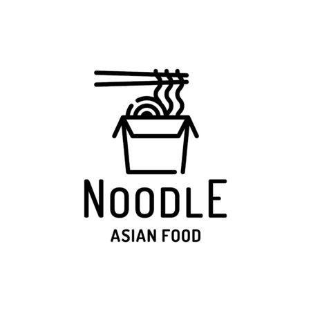Noodle in box with chopsticks logo template. Vector street food label illustration. Line modern asian wok concept for delivery, cafe, stall. Flat ramen logotype background 스톡 콘텐츠 - 146995534